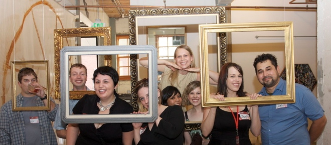 We've been framed! Friends at the Mash-Up Bash.