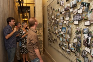 People checking out the Neighborhoods Project.
