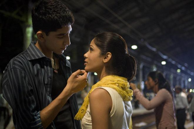 Jamal and Latika in Slumdog Millionaire.