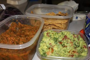 "Paleo ""chips,"" guacamole, and mango salsa"