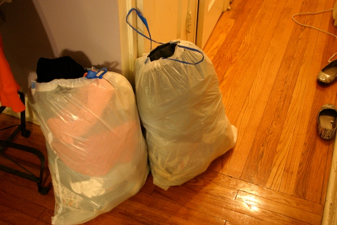 Two out of three bags of clothing.
