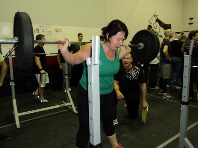 PR'ing a 10RM back squat.