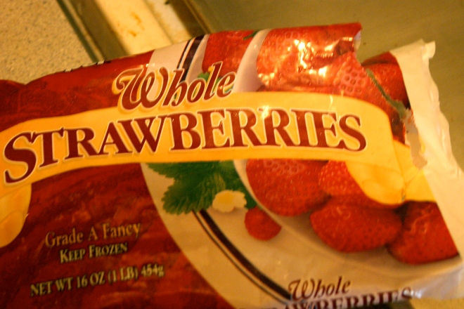 Bag of frozen strawberries.