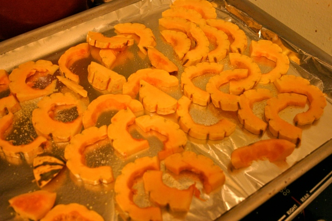 Little delicata squash slices, ready to be roasted!