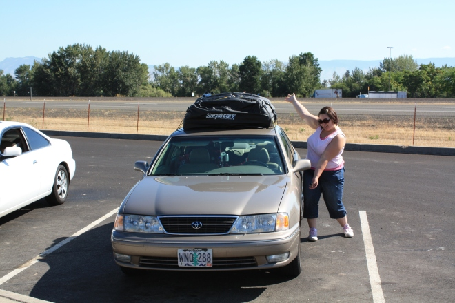 Me and my super-packed car at a Midwest rest stop.