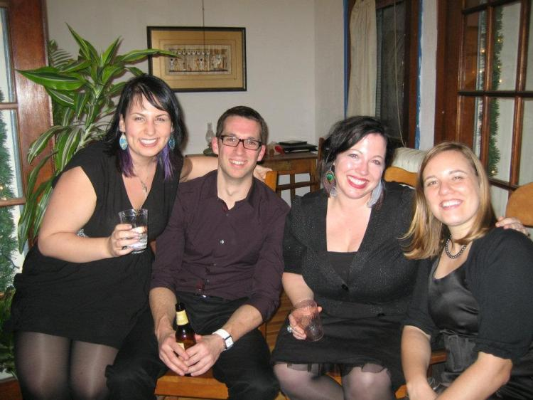 At a holiday party, with James, Sarah, and Zuzana.
