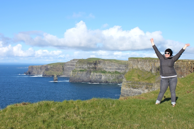 Victory! Atop the Cliffs of Moher.