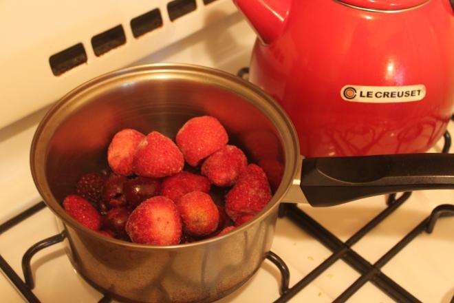 Heat berries.