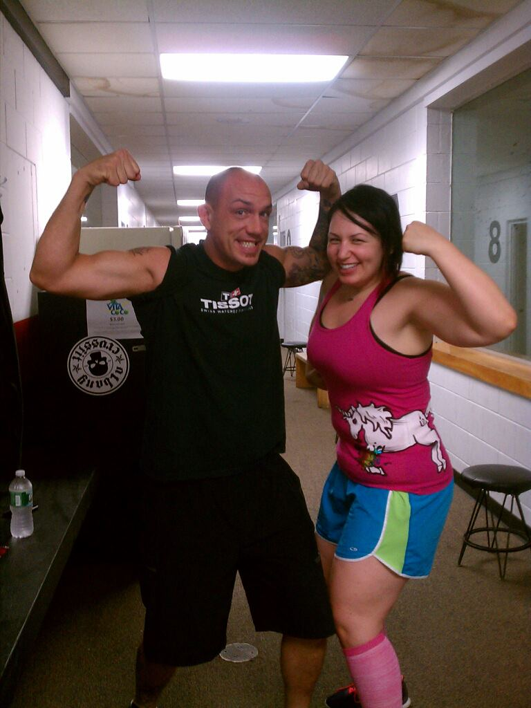 Nate and I show off our badass muscles.