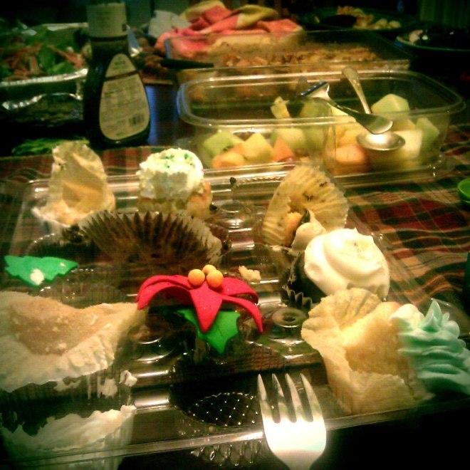 The aftermath of birthday treats: massacred cupcakes....