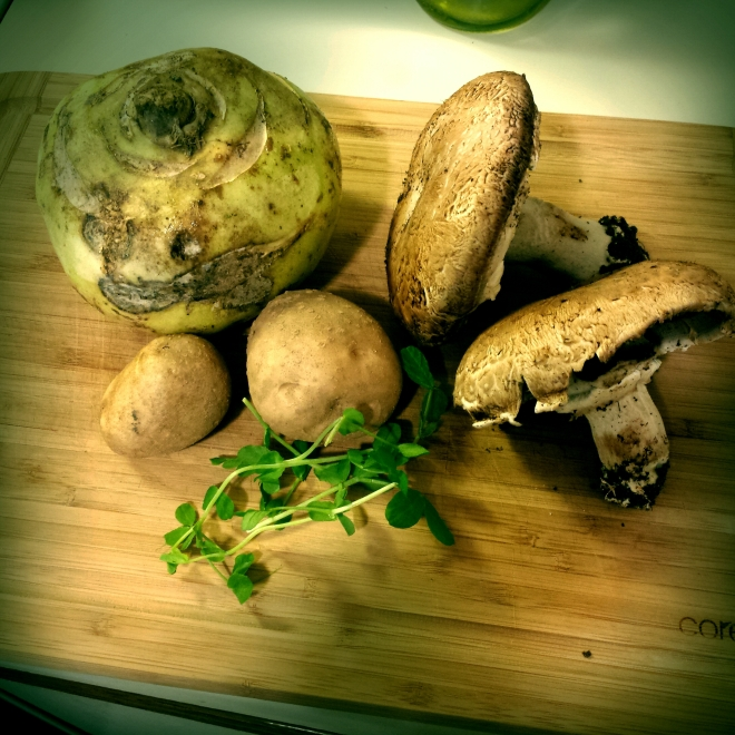 Kohlrabi, potatoes, portabellos, and pea sprouts! Mmm!